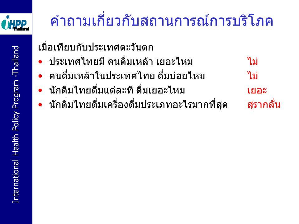 International Health Policy Program -Thailand คำถามเกี่ยวกับสถานการณ์การบริโภค เมื่อเทียบกับประเทศตะวันตก ประเทศไทยมี คนดื่มเหล้า เยอะไหม ไม่ คนดื่มเห