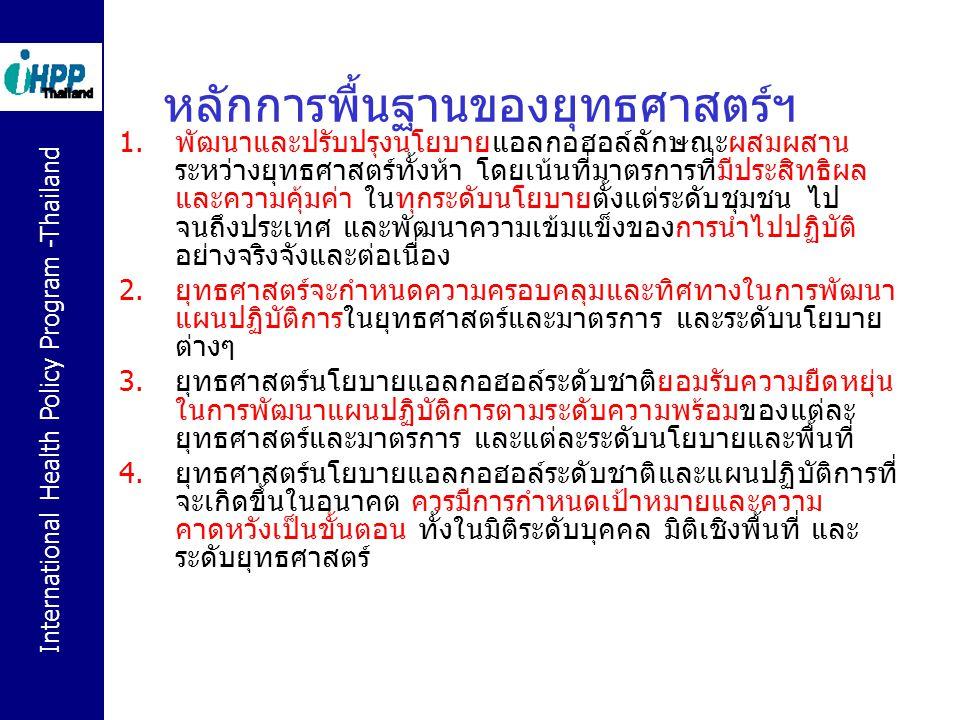International Health Policy Program -Thailand หลักการพื้นฐานของยุทธศาสตร์ฯ 1.พัฒนาและปรับปรุงนโยบายแอลกอฮอล์ลักษณะผสมผสาน ระหว่างยุทธศาสตร์ทั้งห้า โดย