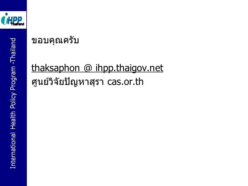 International Health Policy Program -Thailand ขอบคุณครับ thaksaphon @ ihpp.thaigov.net ศูนย์วิจัยปัญหาสุรา cas.or.th