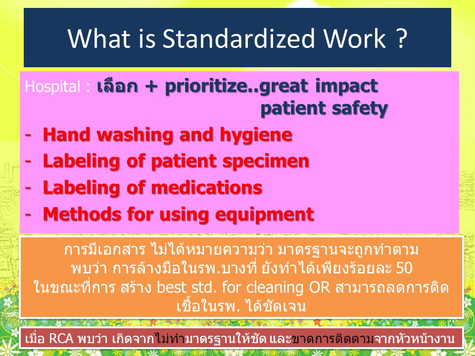 เลือก + prioritize..great impact patient safety Hospital : เลือก + prioritize..great impact patient safety -Hand washing and hygiene -Labeling of pati