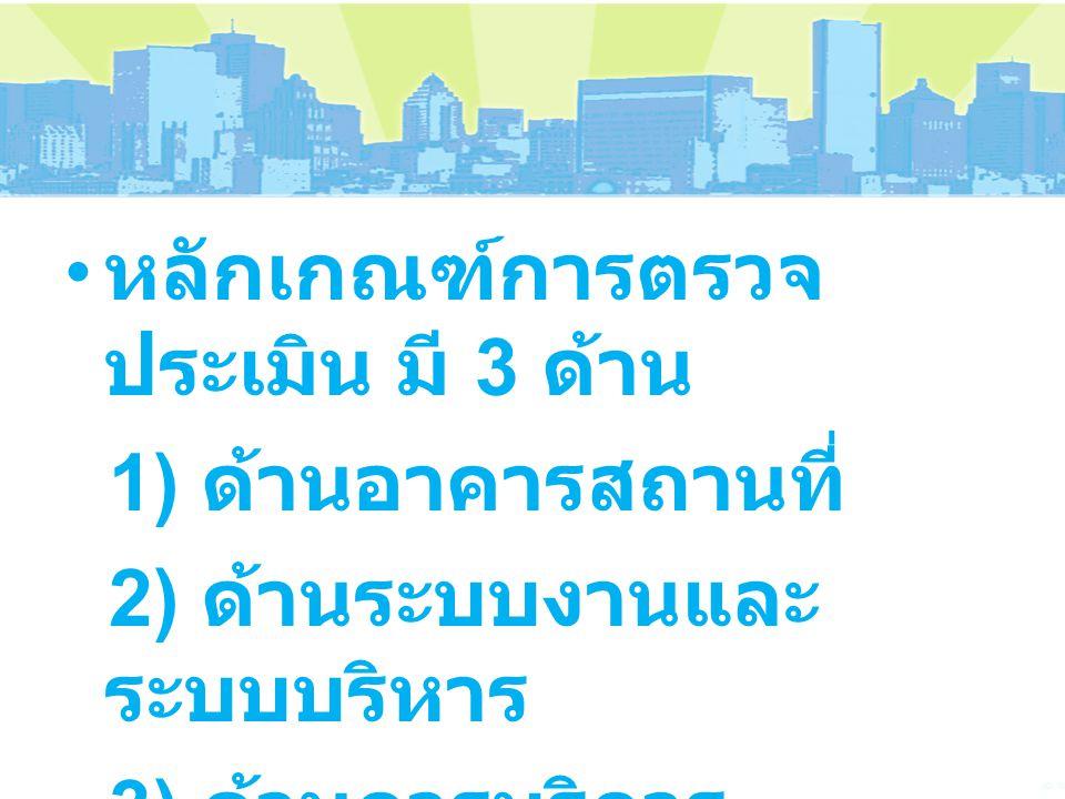 หลักเกณฑ์การตรวจ ประเมิน มี 3 ด้าน 1) ด้านอาคารสถานที่ 2) ด้านระบบงานและ ระบบบริหาร 3) ด้านการบริการ ประชาชน