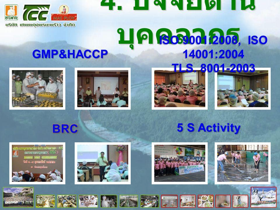 4. ปัจจัยด้าน บุคคลากร GMP&HACCP ISO 9001:2008, ISO 14001:2004 TLS. 8001-2003 5 S Activity