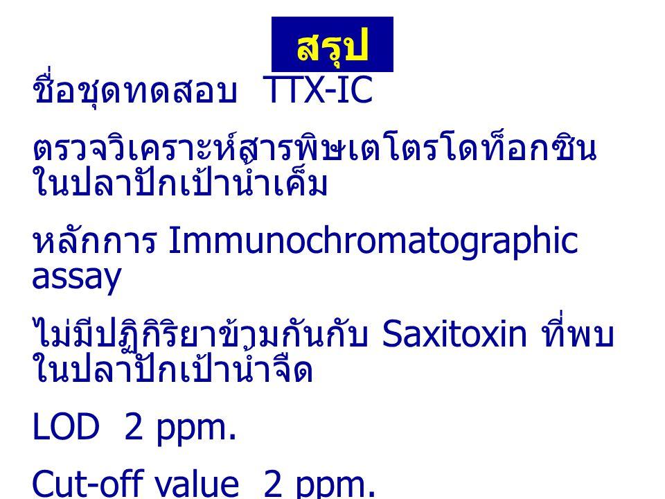 ชื่อชุดทดสอบ TTX-IC ตรวจวิเคราะห์สารพิษเตโตรโดท็อกซิน ในปลาปักเป้าน้ำเค็ม หลักการ Immunochromatographic assay ไม่มีปฏิกิริยาข้ามกันกับ Saxitoxin ที่พบ