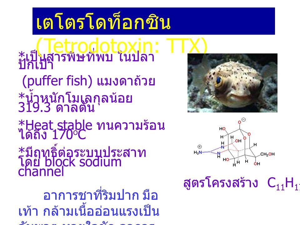 * เป็นสารพิษที่พบ ในปลา ปักเป้า (puffer fish) แมงดาถ้วย * น้ำหนักโมเลกุลน้อย 319.3 ดาลตัน *Heat stable ทนความร้อน ได้ถึง 170 o C * มีฤทธิ์ต่อระบบประสา