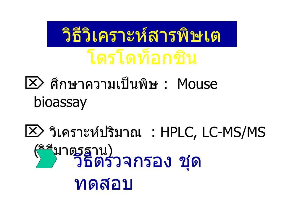 วิธีวิเคราะห์สารพิษเต โตรโดท็อกซิน  ศึกษาความเป็นพิษ : Mouse bioassay  วิเคราะห์ปริมาณ : HPLC, LC-MS/MS ( วิธีมาตรฐาน ) วิธีตรวจกรอง ชุด ทดสอบ