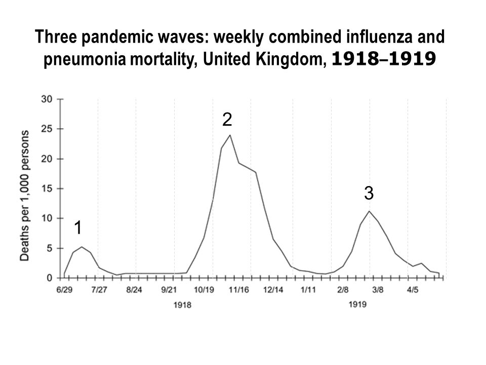 Three pandemic waves: weekly combined influenza and pneumonia mortality, United Kingdom, 1918–1919 1 2 3