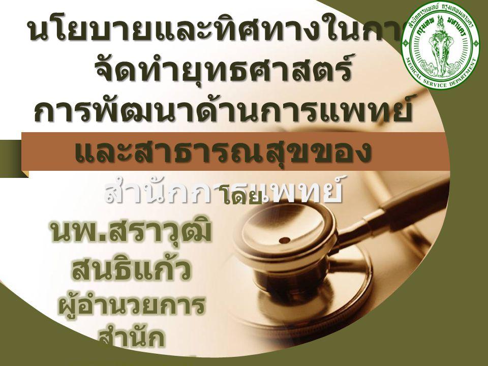สำนักการแพทย์ มี อำนาจหน้าที่ความ รับผิดชอบเกี่ยวกับการ ดำเนินการให้บริการตรวจ รักษาพยาบาล การส่งเสริม สุขภาพและป้องกันโรค ฝึกอบรม และพัฒนา วิชาการ ทางการแพทย์ และการพยาบาล สำนักการแพทย์ มี อำนาจหน้าที่ความ รับผิดชอบเกี่ยวกับการ ดำเนินการให้บริการตรวจ รักษาพยาบาล การส่งเสริม สุขภาพและป้องกันโรค ฝึกอบรม และพัฒนา วิชาการ ทางการแพทย์ และการพยาบาล ภารกิจ หน้าที่ ความ รับผิดชอบ ของสำนักการแพทย์