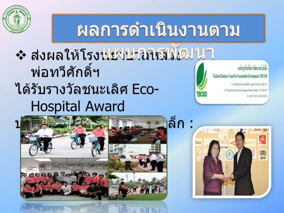  ส่งผลให้โรงพยาบาลหลวง พ่อทวีศักดิ์ฯ ได้รับรางวัลชนะเลิศ Eco- Hospital Award ประเภทโรงพยาบาลขนาดเล็ก : 25 เม.