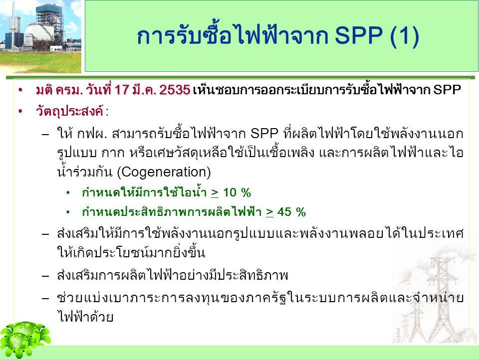 การรับซื้อไฟฟ้าจาก SPP (1) มติ ครม. วันที่ 17 มี.ค. 2535มติ ครม. วันที่ 17 มี.ค. 2535 เห็นชอบการออกระเบียบการรับซื้อไฟฟ้าจาก SPP วัตถุประสงค์ : –ให้ ก