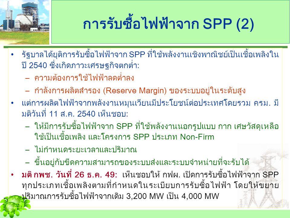 การรับซื้อไฟฟ้าจาก SPP รายใหม่ Cogeneration Renewable FirmNon-Firm CogenerationRenewable ปริมาณพลังไฟฟ้าเสนอขาย < 90 MW อายุสัญญาตั้งแต่ 20-25 ปี อายุสัญญา 5 ปี และต่อเนื่อง กฟผ.