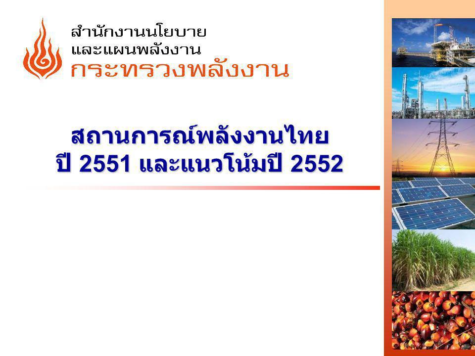 http://www.eppo.go.th - 2 - การใช้ การผลิต การนำเข้าพลังงานเชิงพาณิชย์ขั้นต้น 2547 2548254925502551* การใช้1,4501,5201,5481,6061,639 การผลิต676743765794859 การนำเข้า (สุทธิ)988980978998973 การนำเข้า / การใช้ (%)6864636259 อัตราการเปลี่ยนแปลง (%) การใช้7.74.81.83.82.0 การผลิต1.59.93.03.78.2 การนำเข้า (สุทธิ)13.8-0.9-0.22.0-2.4 GDP (%)6.34.55.04.84.0 หน่วย : เทียบเท่าพันบาร์เรลน้ำมันดิบต่อวัน * เบื้องต้น