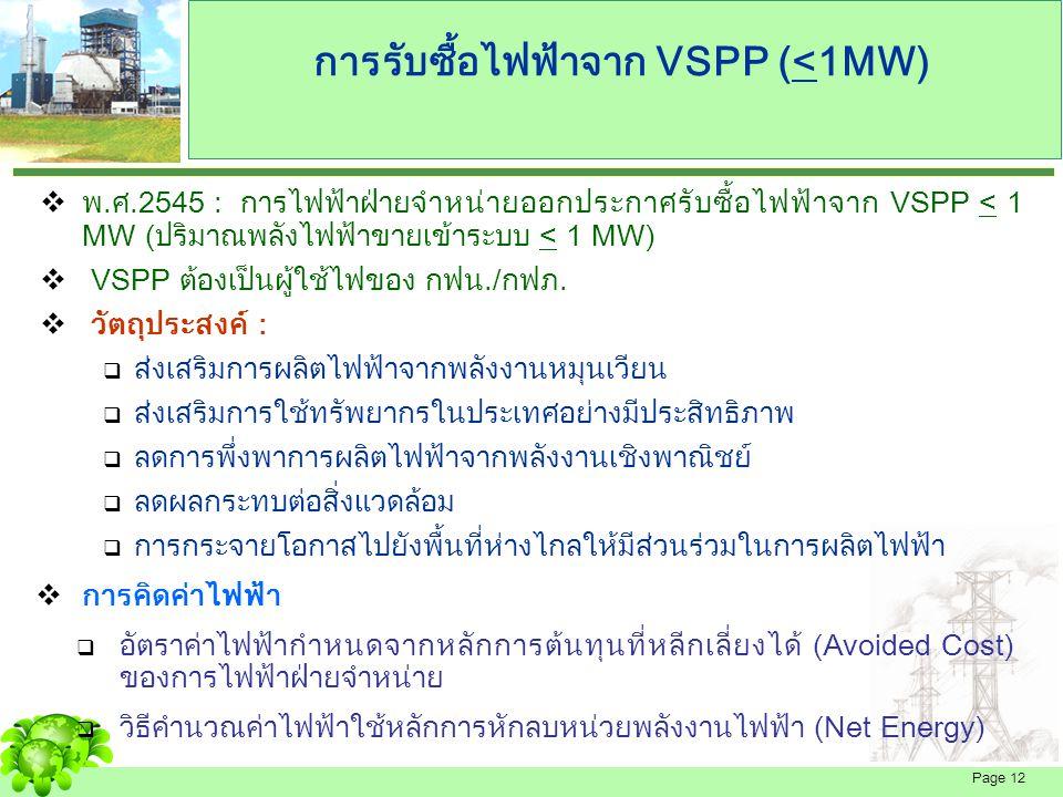Page 13 การรับซื้อไฟฟ้าจาก VSPP (<10 MW) มติ กพช.