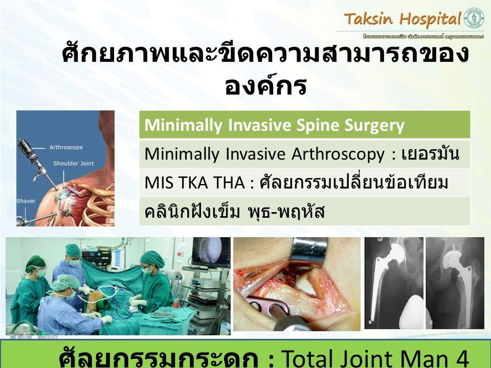 ศักยภาพและขีดความสามารถของ องค์กร ศัลยกรรมกระดูก : Total Joint Man 4 คน Minimally Invasive Spine Surgery Minimally Invasive Arthroscopy : เยอรมัน MIS