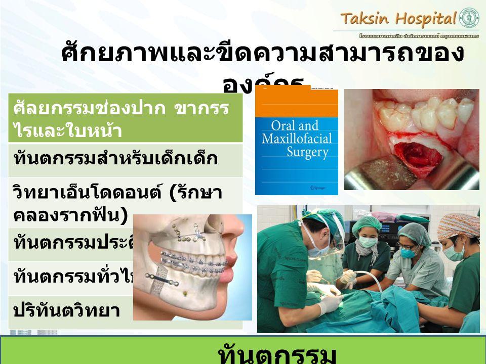 ศักยภาพและขีดความสามารถของ องค์กร ทันตกรรม ศัลยกรรมช่องปาก ขากรร ไรและใบหน้า ทันตกรรมสำหรับเด็กเด็ก วิทยาเอ็นโดดอนต์ ( รักษา คลองรากฟัน ) ทันตกรรมประด