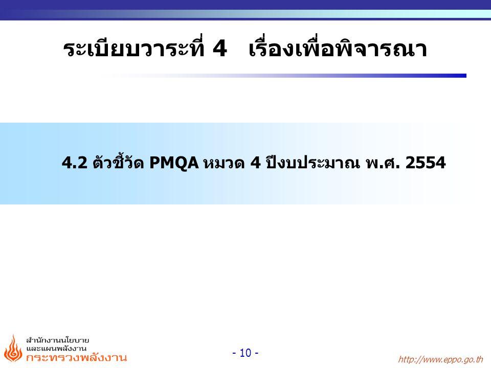 http://www.eppo.go.th - 10 - ระเบียบวาระที่ 4 เรื่องเพื่อพิจารณา 4.2 ตัวชี้วัด PMQA หมวด 4 ปีงบประมาณ พ.ศ. 2554