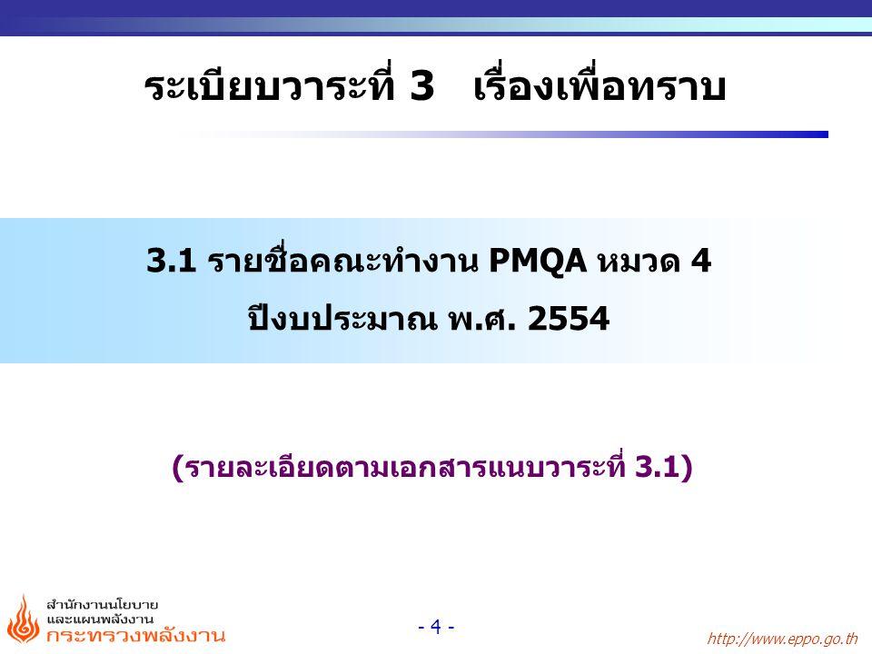 http://www.eppo.go.th - 4 - ระเบียบวาระที่ 3 เรื่องเพื่อทราบ 3.1 รายชื่อคณะทำงาน PMQA หมวด 4 ปีงบประมาณ พ.ศ. 2554 (รายละเอียดตามเอกสารแนบวาระที่ 3.1)