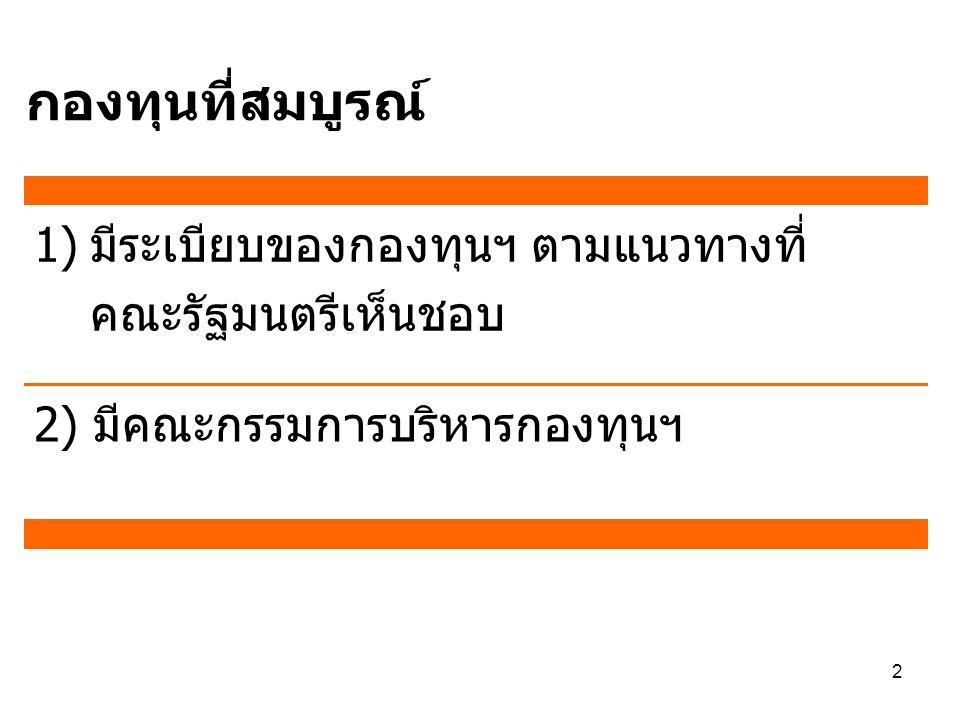 2 1)มีระเบียบของกองทุนฯ ตามแนวทางที่ คณะรัฐมนตรีเห็นชอบ 2) มีคณะกรรมการบริหารกองทุนฯ กองทุนที่สมบูรณ์