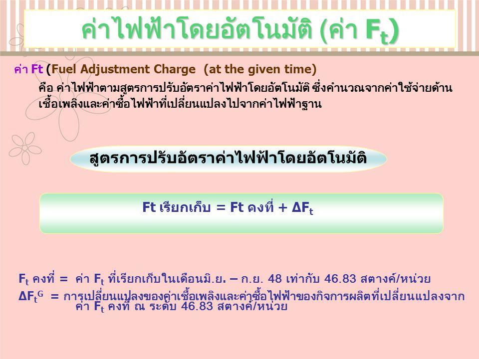ค่าไฟฟ้าโดยอัตโนมัติ ( ค่า F t ) ค่า Ft (Fuel Adjustment Charge (at the given time) คือ ค่าไฟฟ้าตามสูตรการปรับอัตราค่าไฟฟ้าโดยอัตโนมัติ ซึ่งคำนวณจากค่าใช้จ่ายด้าน เชื้อเพลิงและค่าซื้อไฟฟ้าที่เปลี่ยนแปลงไปจากค่าไฟฟ้าฐาน F t คงที่ = ค่า F t ที่เรียกเก็บในเดือนมิ.