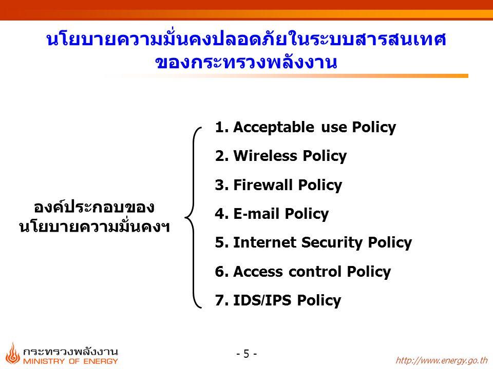 http://www.energy.go.th - 5 - นโยบายความมั่นคงปลอดภัยในระบบสารสนเทศ ของกระทรวงพลังงาน 1. Acceptable use Policy 2. Wireless Policy 3. Firewall Policy 4