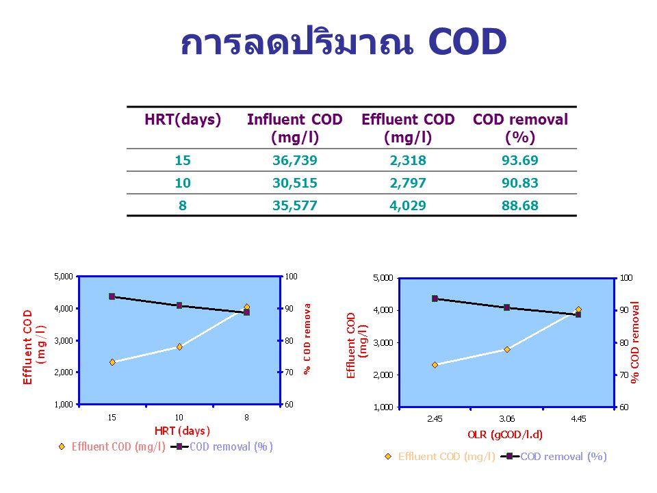 การลดปริมาณ COD HRT(days)Influent COD (mg/l) Effluent COD (mg/l) COD removal (%) 1536,7392,31893.69 1030,5152,79790.83 835,5774,02988.68