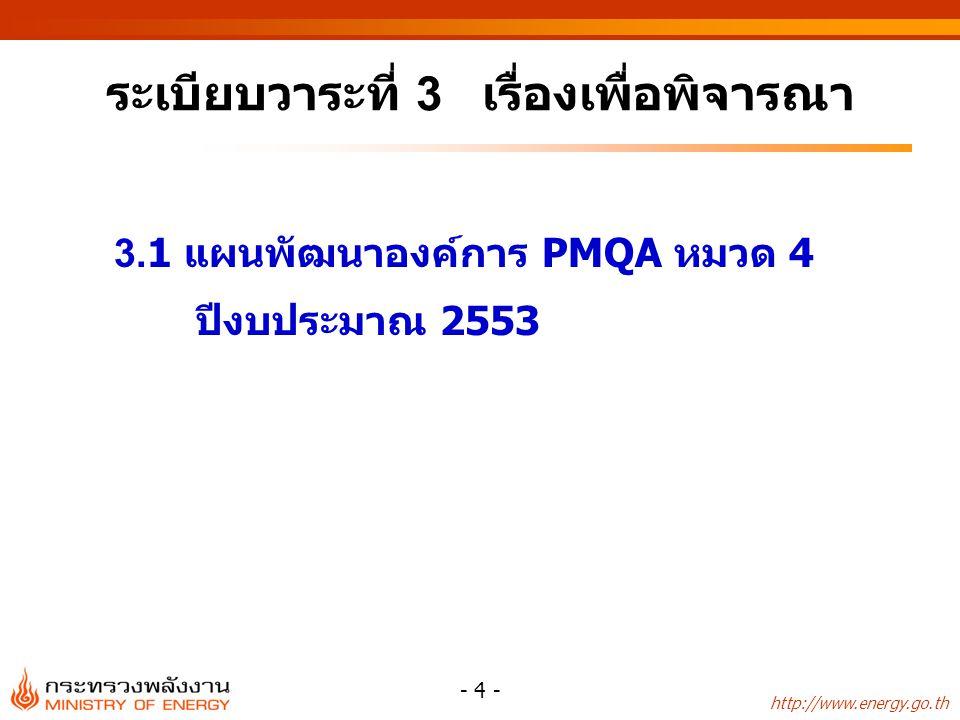 http://www.energy.go.th - 4 - ระเบียบวาระที่ 3 เรื่องเพื่อพิจารณา 3.1 แผนพัฒนาองค์การ PMQA หมวด 4 ปีงบประมาณ 2553