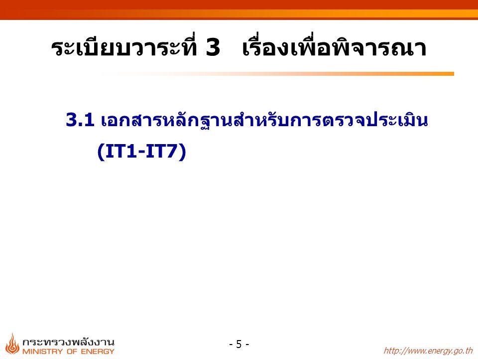 http://www.energy.go.th - 5 - ระเบียบวาระที่ 3 เรื่องเพื่อพิจารณา 3.1 เอกสารหลักฐานสำหรับการตรวจประเมิน (IT1-IT7)