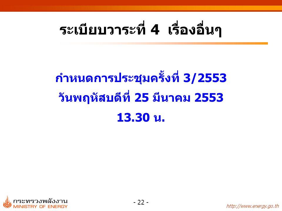 http://www.energy.go.th - 22 - ระเบียบวาระที่ 4 เรื่องอื่นๆ กำหนดการประชุมครั้งที่ 3/2553 วันพฤหัสบดีที่ 25 มีนาคม 2553 13.30 น.