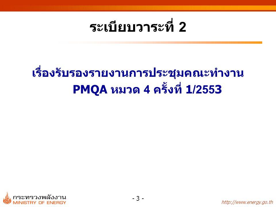 http://www.energy.go.th - 3 - ระเบียบวาระที่ 2 เรื่องรับรองรายงานการประชุมคณะทำงาน PMQA หมวด 4 ครั้งที่ 1/2553