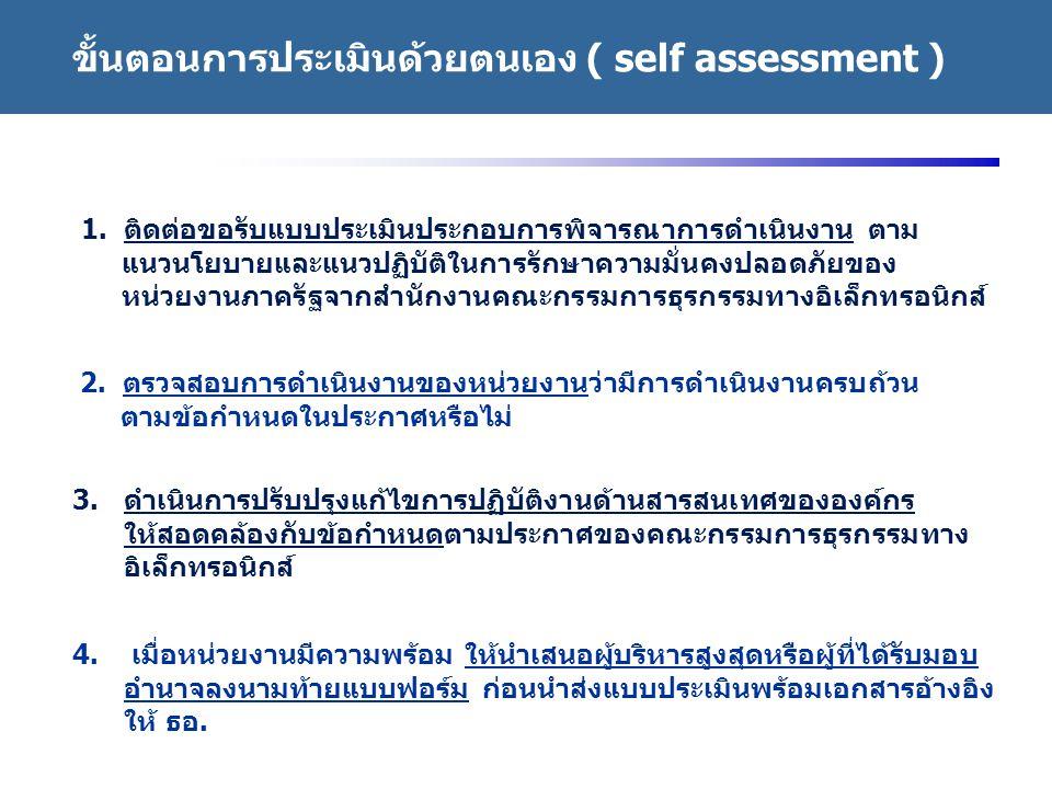 http://www.eppo.go.th - 36 - 1. ติดต่อขอรับแบบประเมินประกอบการพิจารณาการดำเนินงาน ตาม แนวนโยบายและแนวปฏิบัติในการรักษาความมั่นคงปลอดภัยของ หน่วยงานภาค