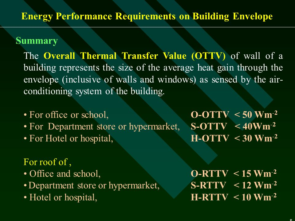 8 Energy Performance Requirements on Building Envelope The Overall Thermal Transfer Value (OTTV) of wall of a building represents the size of the aver
