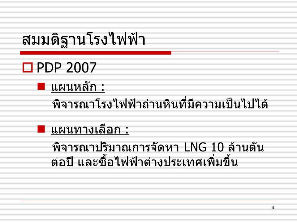 4 สมมติฐานโรงไฟฟ้า  PDP 2007 แผนหลัก : พิจารณาโรงไฟฟ้าถ่านหินที่มีความเป็นไปได้ แผนทางเลือก : พิจารณาปริมาณการจัดหา LNG 10 ล้านตัน ต่อปี และซื้อไฟฟ้า