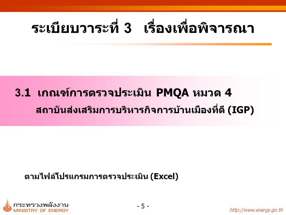 http://www.energy.go.th - 5 - ระเบียบวาระที่ 3 เรื่องเพื่อพิจารณา 3.1 เกณฑ์การตรวจประเมิน PMQA หมวด 4 สถาบันส่งเสริมการบริหารกิจการบ้านเมืองที่ดี (IGP