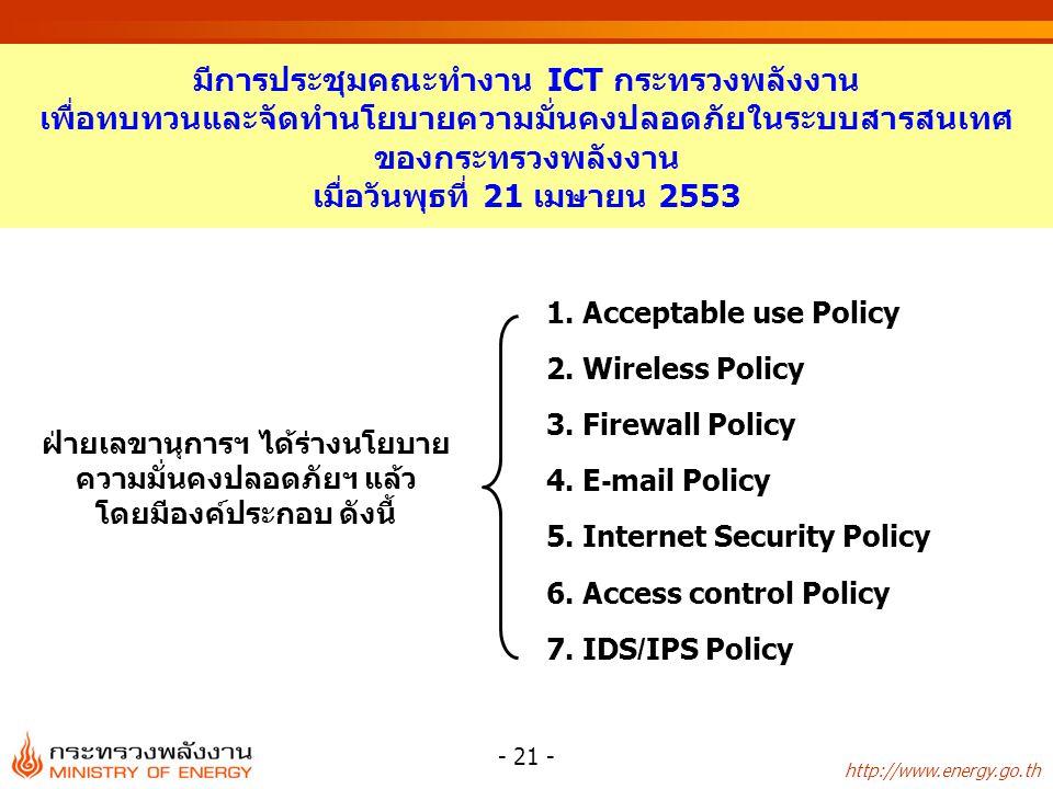 http://www.energy.go.th - 21 - มีการประชุมคณะทำงาน ICT กระทรวงพลังงาน เพื่อทบทวนและจัดทำนโยบายความมั่นคงปลอดภัยในระบบสารสนเทศ ของกระทรวงพลังงาน เมื่อวันพุธที่ 21 เมษายน 2553 1.