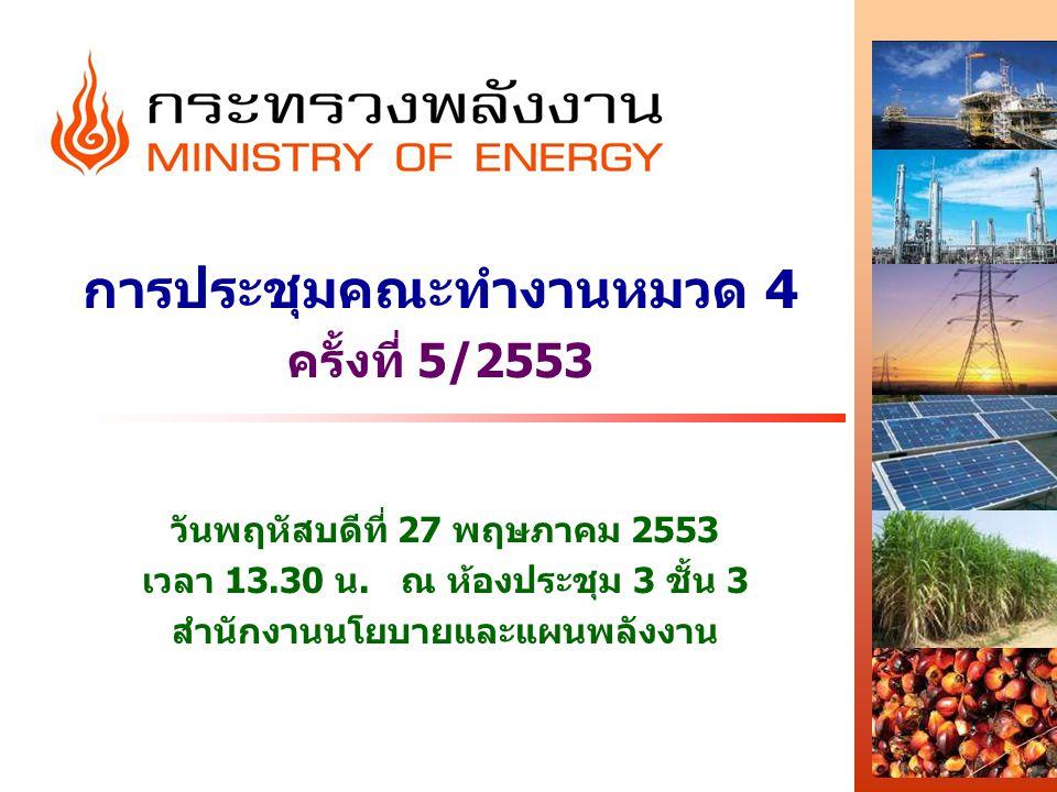 การประชุมคณะทำงานหมวด 4 ครั้งที่ 5/2553 วันพฤหัสบดีที่ 27 พฤษภาคม 2553 เวลา 13.30 น. ณ ห้องประชุม 3 ชั้น 3 สำนักงานนโยบายและแผนพลังงาน