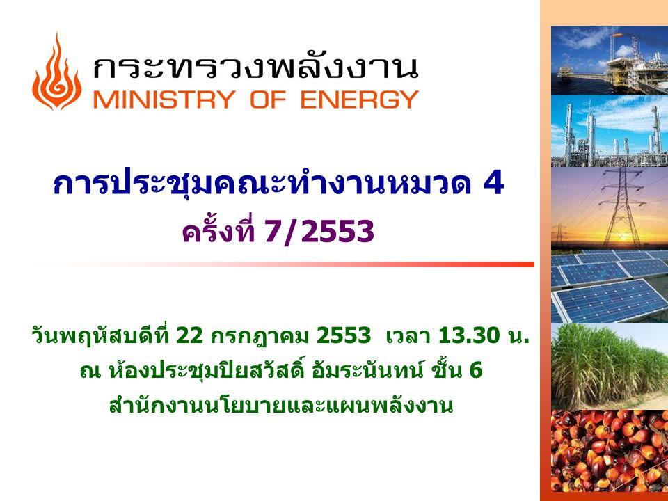 การประชุมคณะทำงานหมวด 4 ครั้งที่ 7/2553 วันพฤหัสบดีที่ 22 กรกฎาคม 2553 เวลา 13.30 น. ณ ห้องประชุมปิยสวัสดิ์ อัมระนันทน์ ชั้น 6 สำนักงานนโยบายและแผนพลั