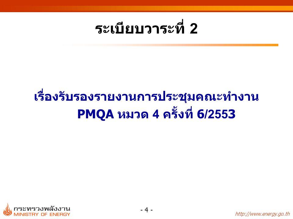 http://www.energy.go.th - 4 - ระเบียบวาระที่ 2 เรื่องรับรองรายงานการประชุมคณะทำงาน PMQA หมวด 4 ครั้งที่ 6/2553