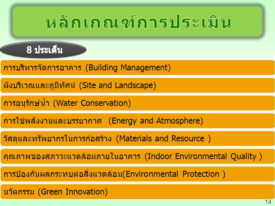 13 การบริหารจัดการอาคาร (Building Management)ผังบริเวณและภูมิทัศน์ (Site and Landscape)การอนุรักษ์น้ำ (Water Conservation)การใช้พลังงานและบรรยากาศ (En
