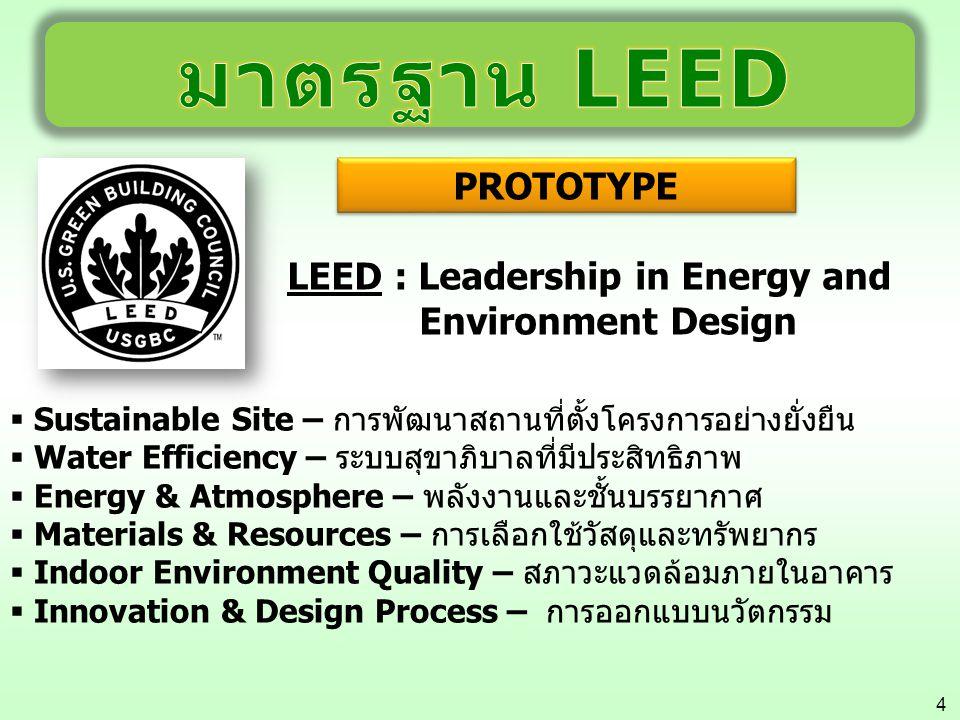 4 LEED : Leadership in Energy and Environment Design  Sustainable Site – การพัฒนาสถานที่ตั้งโครงการอย่างยั่งยืน  Water Efficiency – ระบบสุขาภิบาลที่
