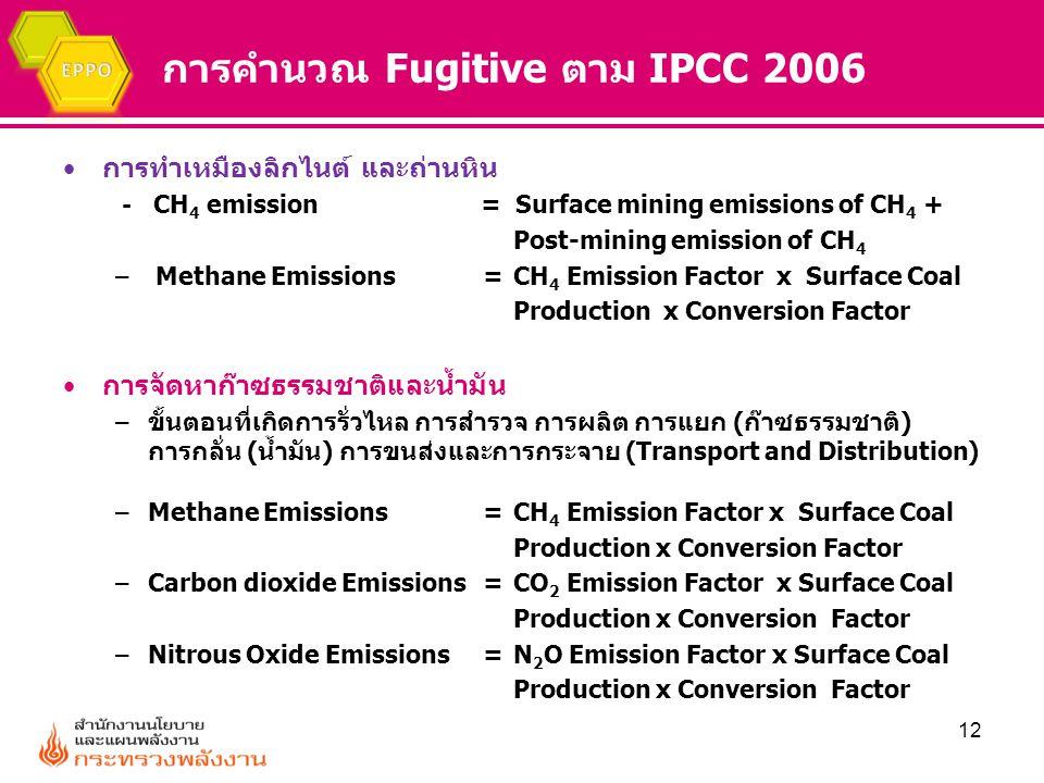 การคำนวณ Fugitive ตาม IPCC 2006 การทำเหมืองลิกไนต์ และถ่านหิน - CH 4 emission= Surface mining emissions of CH 4 + Post-mining emission of CH 4 – Metha