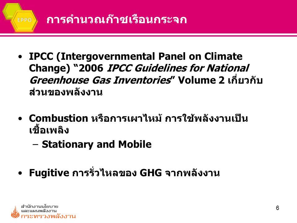 """การคำนวณก๊าซเรือนกระจก IPCC (Intergovernmental Panel on Climate Change) """"2006 IPCC Guidelines for National Greenhouse Gas Inventories"""" Volume 2 เกี่ยว"""