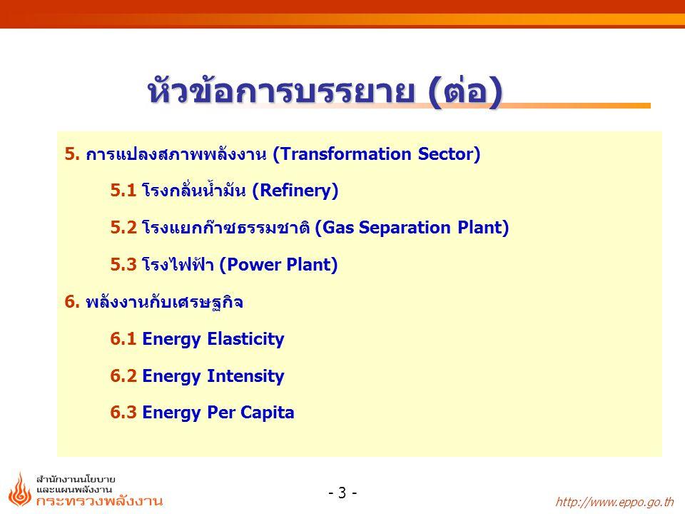 http://www.eppo.go.th - 3 - หัวข้อการบรรยาย (ต่อ) 5. การแปลงสภาพพลังงาน (Transformation Sector) 5.1 โรงกลั่นน้ำมัน (Refinery) 5.2 โรงแยกก๊าซธรรมชาติ (