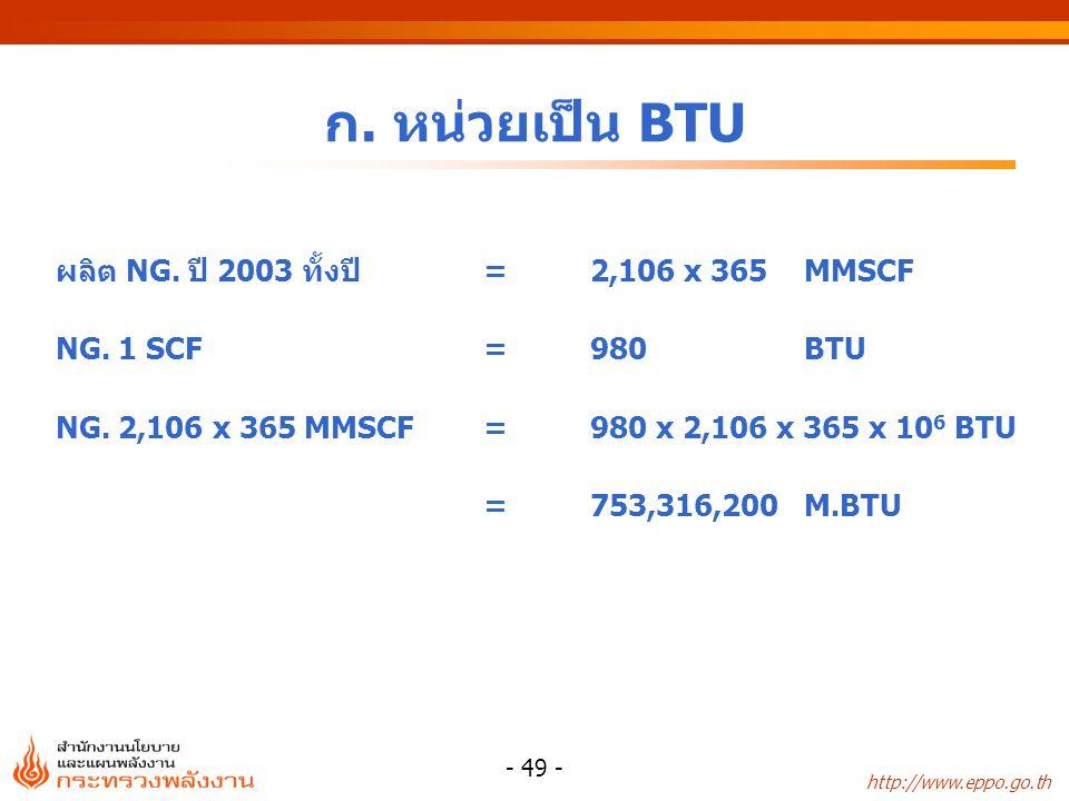 http://www.eppo.go.th - 49 - ก. หน่วยเป็น BTU ผลิต NG. ปี 2003 ทั้งปี=2,106 x 365 MMSCF NG. 1 SCF=980BTU NG. 2,106 x 365 MMSCF =980 x 2,106 x 365 x 10