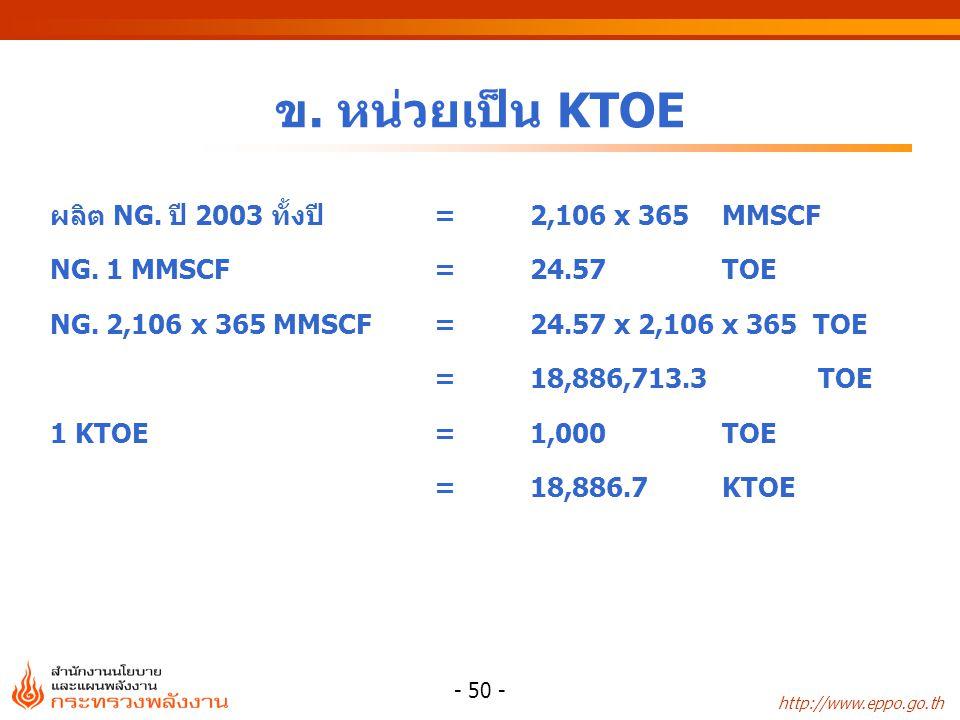 http://www.eppo.go.th - 50 - ข. หน่วยเป็น KTOE ผลิต NG. ปี 2003 ทั้งปี=2,106 x 365MMSCF NG. 1 MMSCF=24.57TOE NG. 2,106 x 365 MMSCF =24.57 x 2,106 x 36