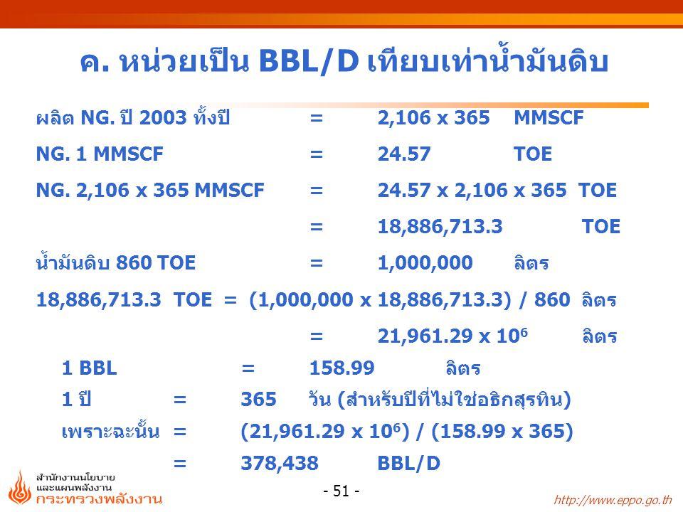 http://www.eppo.go.th - 51 - ค. หน่วยเป็น BBL/D เทียบเท่าน้ำมันดิบ ผลิต NG. ปี 2003 ทั้งปี=2,106 x 365 MMSCF NG. 1 MMSCF=24.57 TOE NG. 2,106 x 365 MMS
