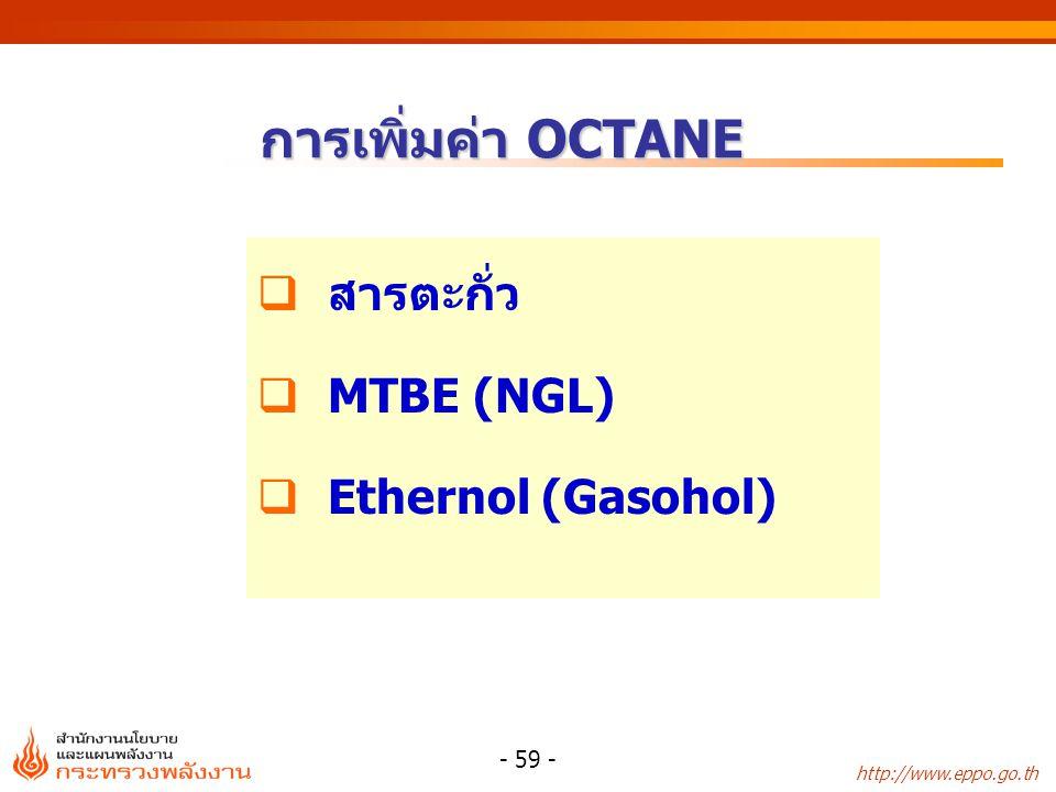 http://www.eppo.go.th - 59 - การเพิ่มค่า OCTANE  สารตะกั่ว  MTBE (NGL)  Ethernol (Gasohol)