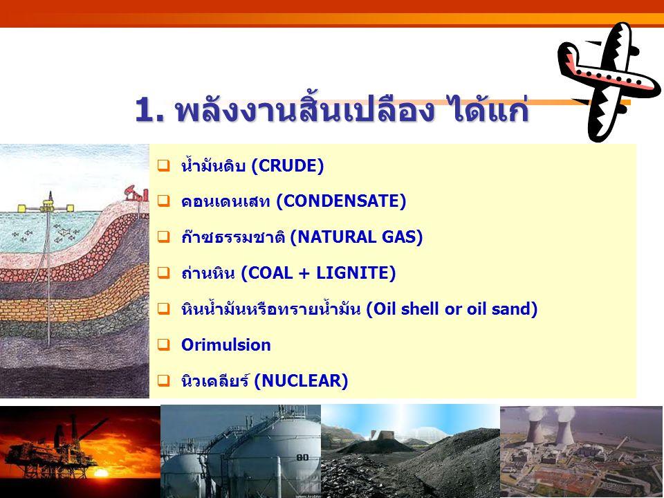 http://www.eppo.go.th 1. พลังงานสิ้นเปลือง ได้แก่  น้ำมันดิบ (CRUDE)  คอนเดนเสท (CONDENSATE)  ก๊าซธรรมชาติ (NATURAL GAS)  ถ่านหิน (COAL + LIGNITE)
