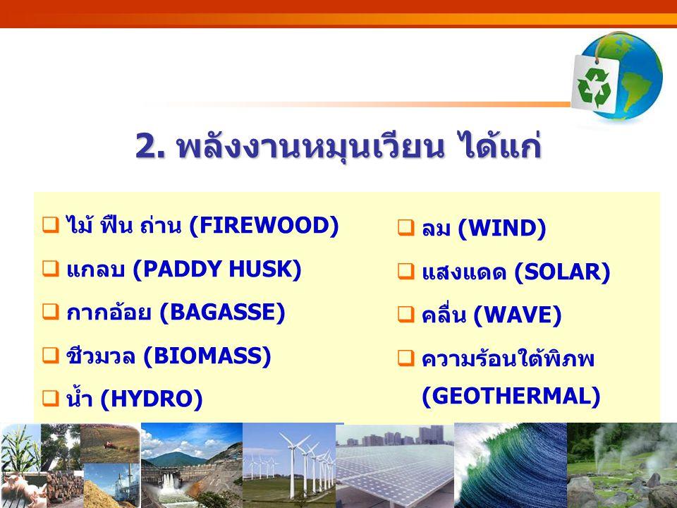 http://www.eppo.go.th - 7 - 2. พลังงานหมุนเวียน ได้แก่  ไม้ ฟืน ถ่าน (FIREWOOD)  แกลบ (PADDY HUSK)  กากอ้อย (BAGASSE)  ชีวมวล (BIOMASS)  น้ำ (HYD