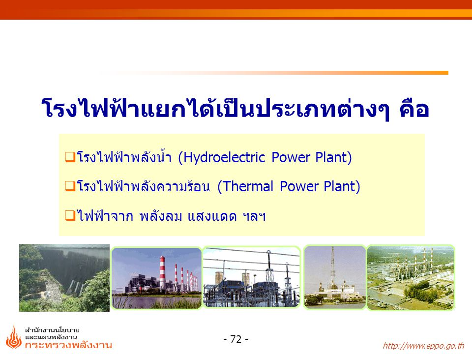 http://www.eppo.go.th - 72 -  โรงไฟฟ้าพลังน้ำ (Hydroelectric Power Plant)  โรงไฟฟ้าพลังความร้อน (Thermal Power Plant)  ไฟฟ้าจาก พลังลม แสงแดด ฯลฯ โ