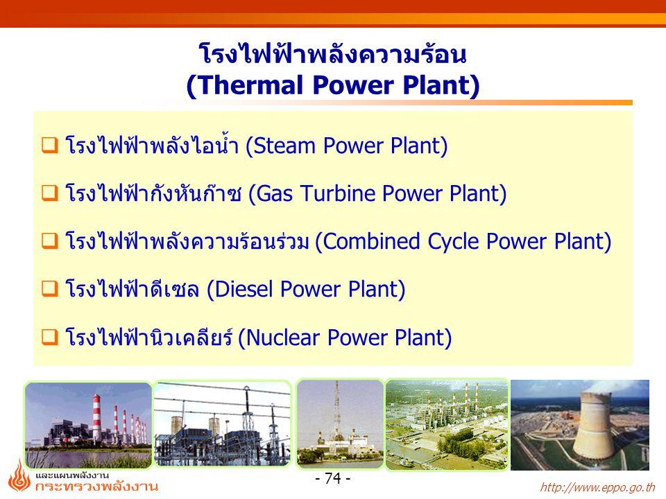 http://www.eppo.go.th - 74 - โรงไฟฟ้าพลังความร้อน (Thermal Power Plant)  โรงไฟฟ้าพลังไอน้ำ (Steam Power Plant)  โรงไฟฟ้ากังหันก๊าซ (Gas Turbine Powe