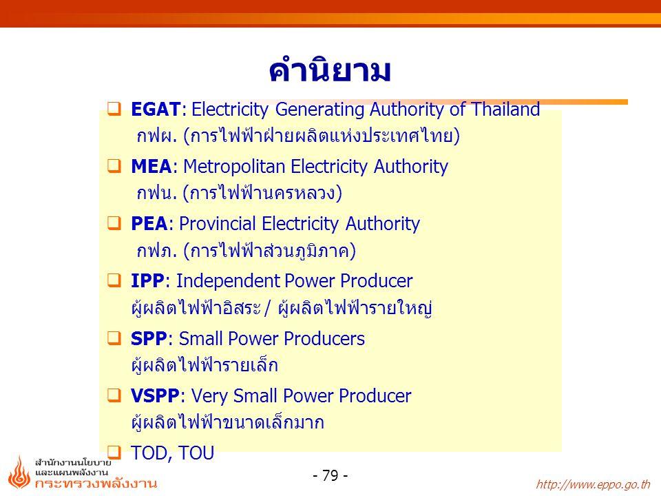 http://www.eppo.go.th - 79 - คำนิยาม  EGAT: Electricity Generating Authority of Thailand กฟผ. (การไฟฟ้าฝ่ายผลิตแห่งประเทศไทย)  MEA: Metropolitan Ele